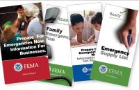 Brochures from FEMA spread out in a fan