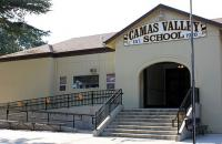 Photo of one-building schoolhouse in Camas Valley