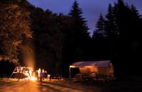 Nighttime picture of people camping