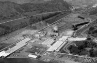 Aerial photo of a saw mill