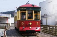 A trolley travels the waterfront