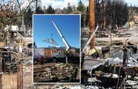 Superimposed over a scene of destruction, a photo of a new house rises from the ashes.