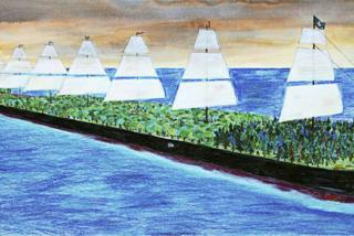 A large barge with sails, loaded with living trees