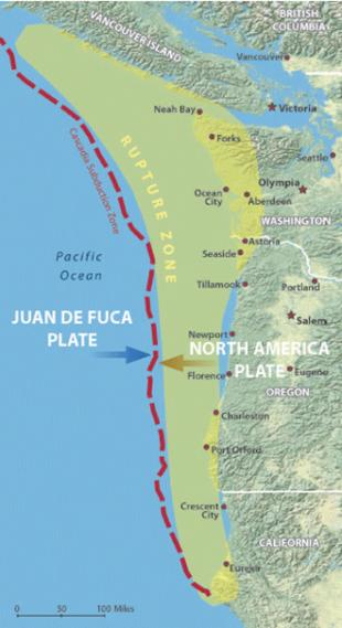 Map showing rupture zone along the Cascadia fault