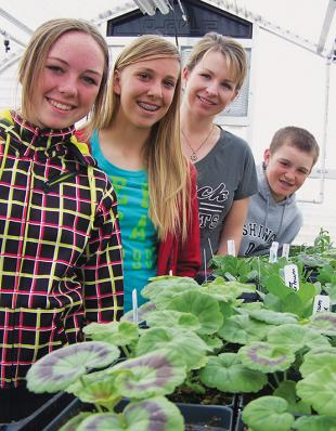Teacher and three students look at greenhouse plants.