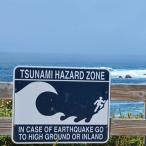Tsunami warning sign along the Oregon Coast