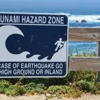 Tsunami warning sign posted on a wooden fence overlooking the ocean