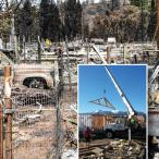 A photo of new home construction is superimposed over a scene of devastation caused by a fire.